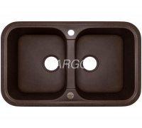 Мойка гранитная кухонная двухчашевая коричневая Argo GEMELLI Mokko 77*47*19