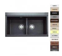 Кухонная гранитная мойка двухчашевая Argo DUET 86х51х24см цвет на выбор