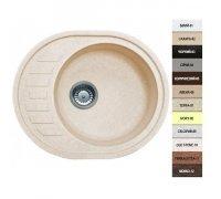 Кухонная гранитная мойка овальная в кремовом цвете Argo OVALE 62*50*20