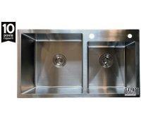 Кухонна нержавіюча мийка товщиною 1,2 мм Galaţi ARTA U-750 двочашова 800х450х230мм