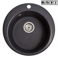 Кухонна мийка гранітна кругла Galati Eva Antracit (901)