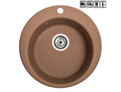 Кухонная гранитная круглая мойка Galati Eva Teracota (701)