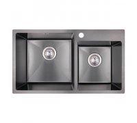Кухонна мийка нержавіюча двочашова в чорному кольорі товщиною 1мм IMPERIAL S7843BL Handmade 2.7/1.0mm