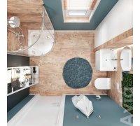 Комплект для ванної кімнати Volle AVIA 070076 - душ. кабіна, підвісний унітаз з інсталяцією, тумба з умивальником, змішувач, душ система