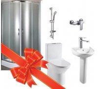 Комплект для ванної кімнати Volle Fiesta - кабіна, компакт, умивальник, душ штанга + 2 змішувача