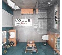 Комплект для ванной комнаты Volle SIERA 070081 -душ. перегородка, смеситель с верхним душем и гарнитурой, подвесной унитаз с инсталяцией, умывальник с смесителем